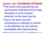 section 120 contents of bond