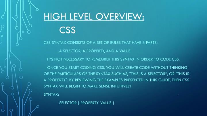 high level overview css n.