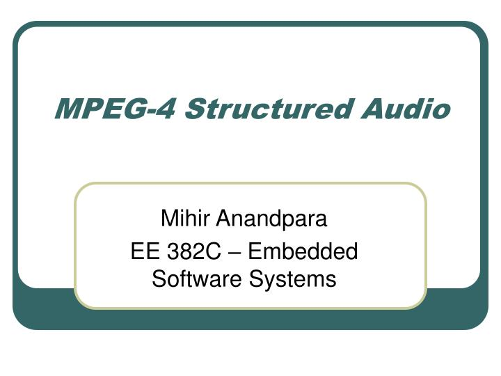 mpeg 4 structured audio n.