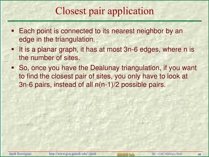 Closest pair application