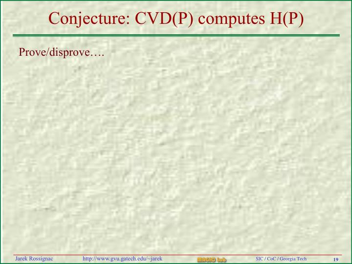 Conjecture: CVD(P) computes H(P)