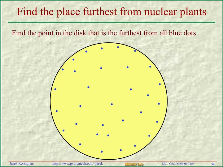 Find the place furthest from nuclear plants