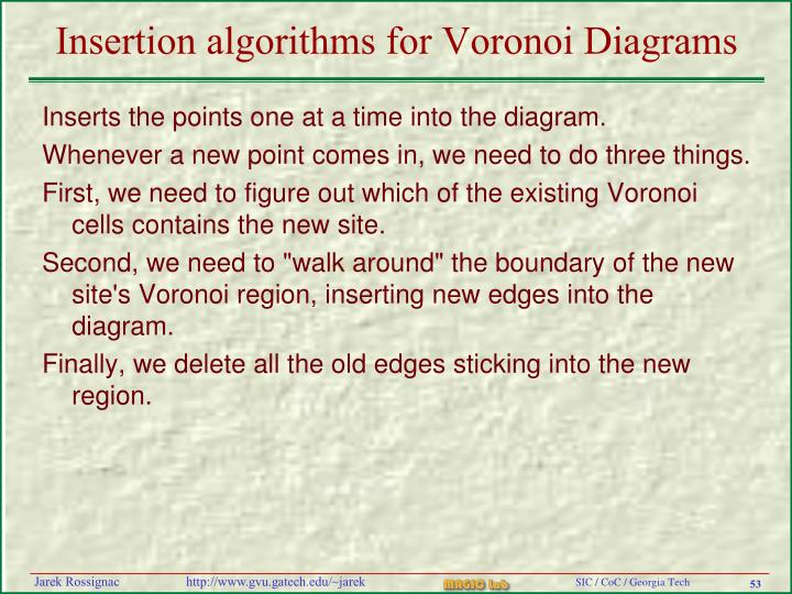 Insertion algorithms for Voronoi Diagrams