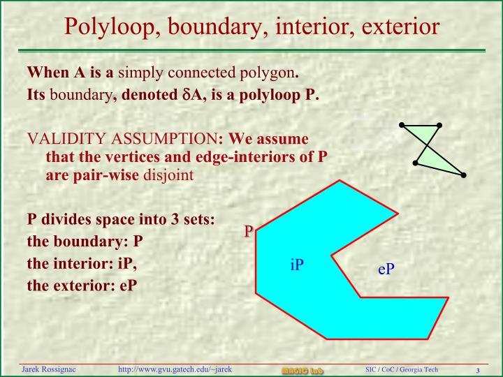 Polyloop boundary interior exterior
