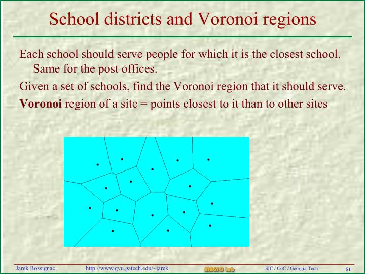School districts and Voronoi regions