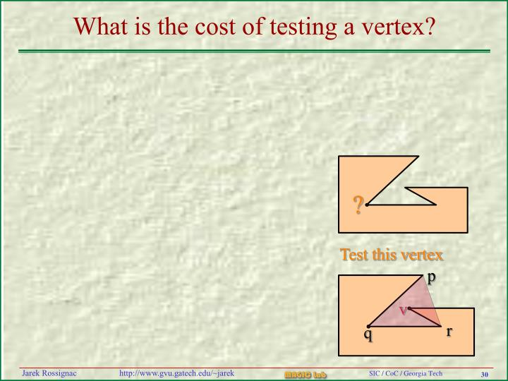 What is the cost of testing a vertex?