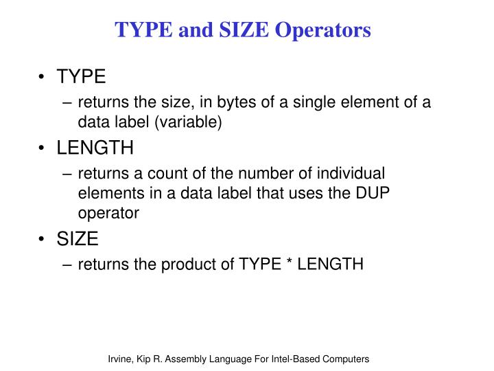 Type and size operators