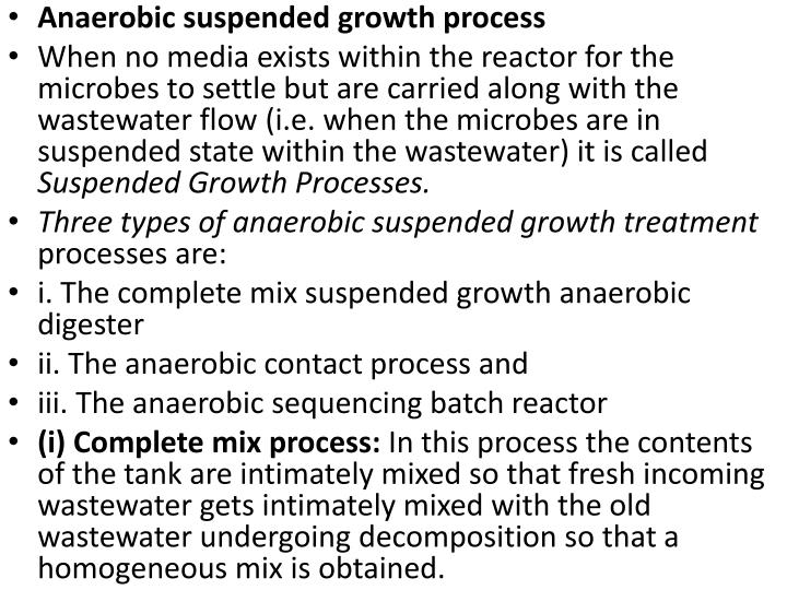 Anaerobic suspended growth process