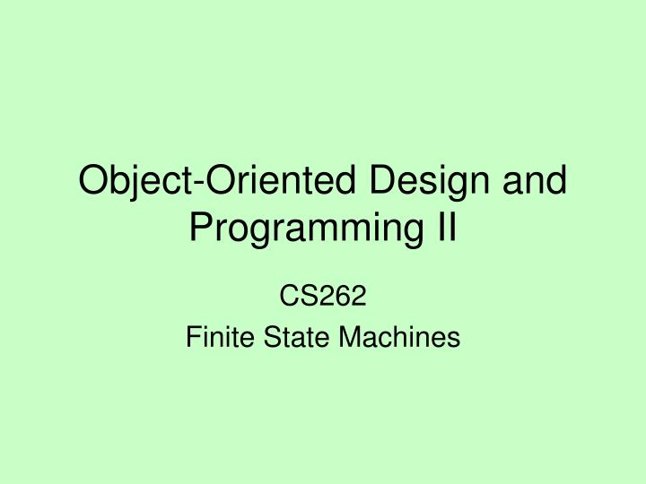 object oriented design and programming ii n.