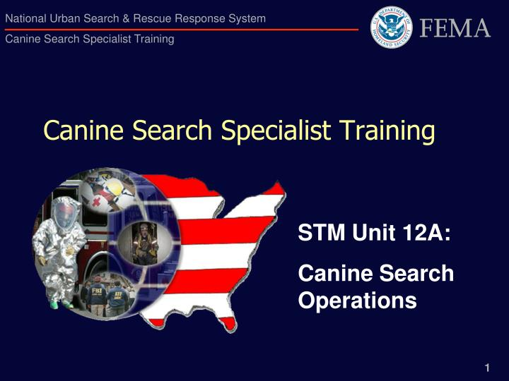 canine search specialist training n.
