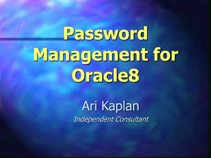password management for oracle8 n.