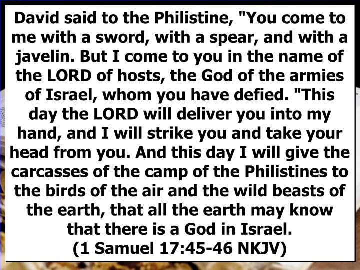 """David said to the Philistine, """"You come to me with a sword, with a spear, and with a javelin. But I come to you in the name of the LORD of hosts, the God of the armies of Israel, whom you have defied. """"This day the LORD will deliver you into my hand, and I will strike you and take your head from you. And this day I will give the carcasses of the camp of the Philistines to the birds of the air and the wild beasts of the earth, that all the earth may know that there is a God in Israel."""