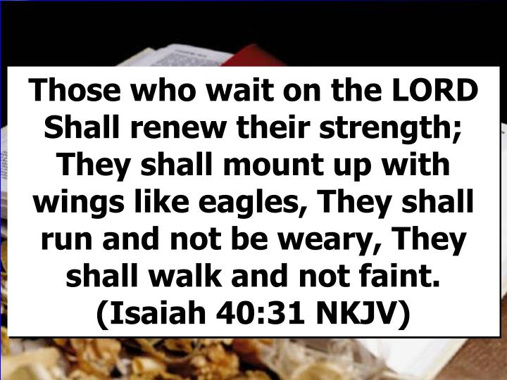 Those who wait on the LORD Shall renew their strength; They shall mount up with wings like eagles, They shall run and not be weary, They shall walk and not faint.                                      (Isaiah 40:31 NKJV)