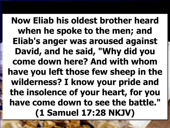 """Now Eliab his oldest brother heard when he spoke to the men; and Eliab's anger was aroused against David, and he said, """"Why did you come down here? And with whom have you left those few sheep in the wilderness? I know your pride and the insolence of your heart, for you have come down to see the battle."""" (1 Samuel 17:28 NKJV)"""