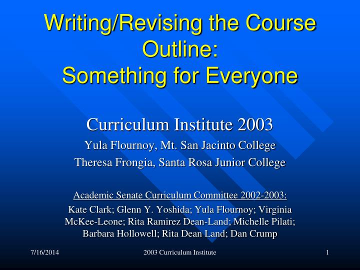 writing revising the course outline something for everyone n.