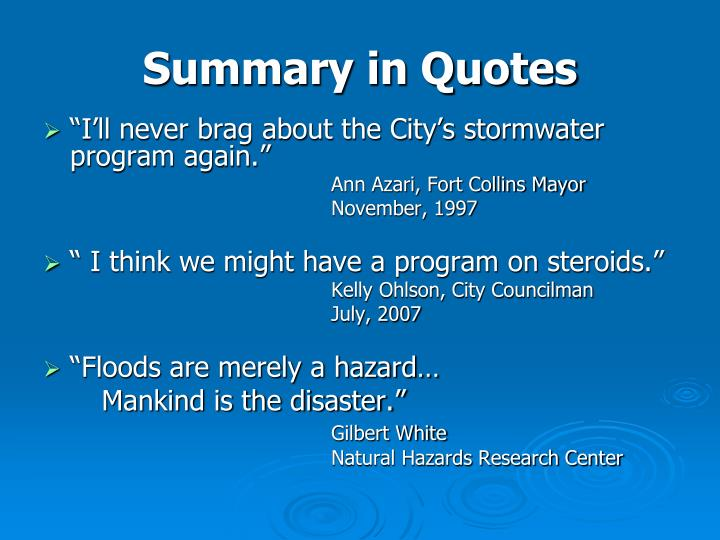 Summary in Quotes