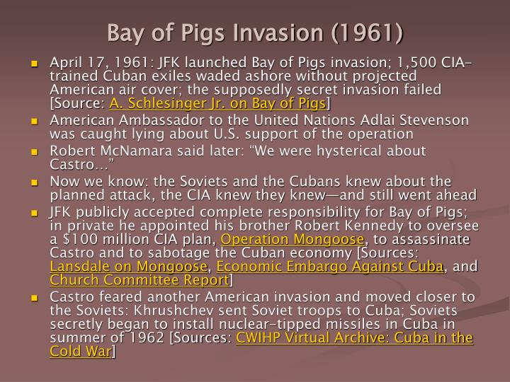bay of pigs essay example Us, cuba, and the bay of pigs essay 2083 words | 9 pages introduction operation zapata, or as it is more commonly known, the bay of pigs, was the failed invasion of cuba by us supported cuban exiles.
