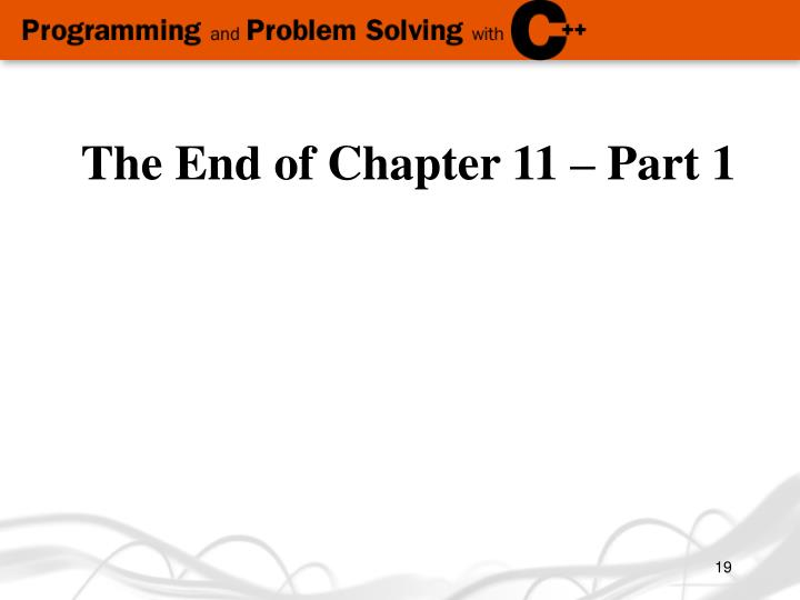The End of Chapter 11 – Part 1