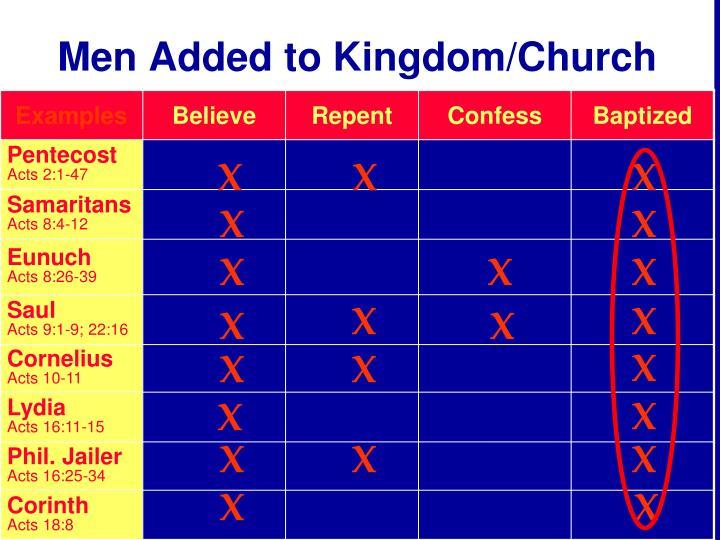 Men Added to Kingdom/Church