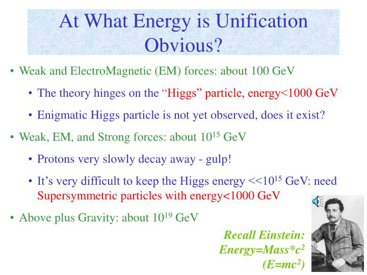 At What Energy is Unification Obvious?