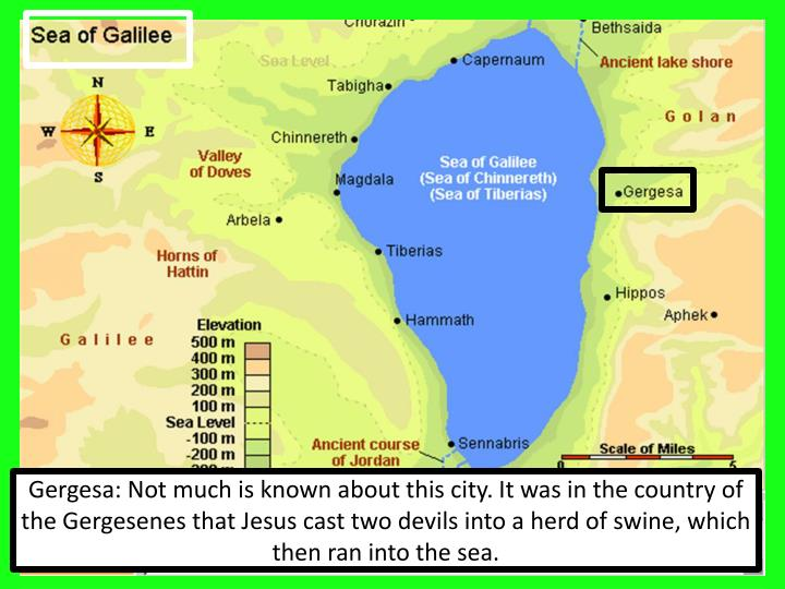 Gergesa: Not much is known about this city. It was in the country of the Gergesenes that Jesus cast two devils into a herd of swine, which then ran into the sea.
