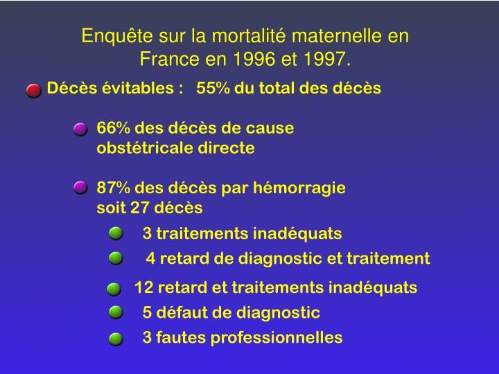 Enquête sur la mortalité maternelle en France en 1996 et 1997.