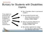 bursary for students with disabilities eligibility