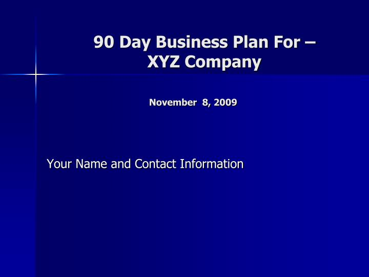 90 day business plan for xyz company november 8 2009 n.