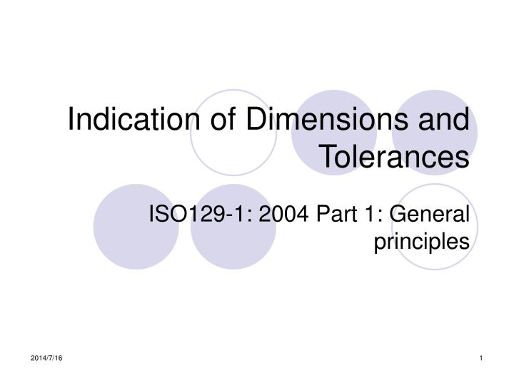 indication of dimensions and tolerances n.