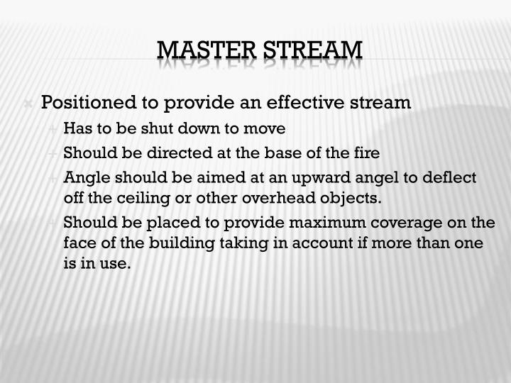 Positioned to provide an effective stream