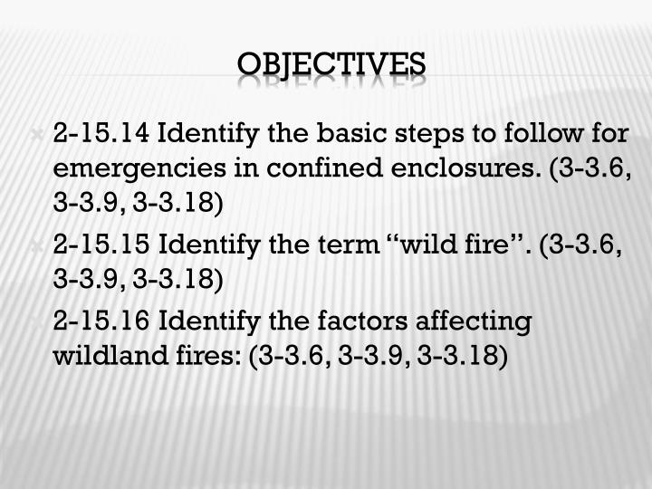 2-15.14 Identify the basic steps to follow for emergencies in confined enclosures. (3-3.6, 3-3.9, 3-3.18)