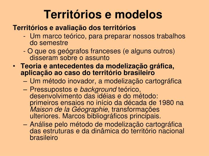 Territórios e modelos