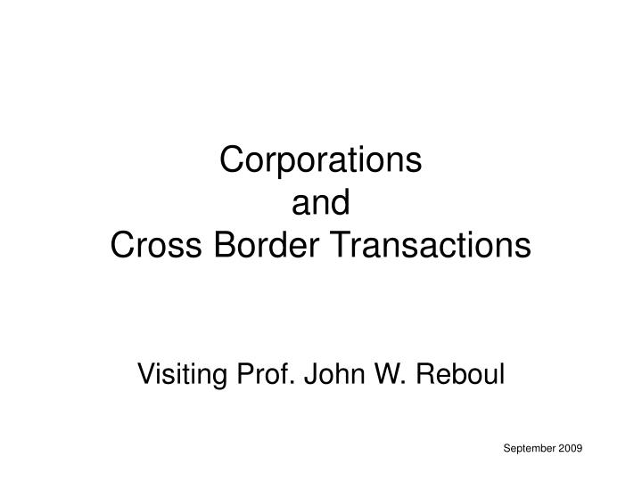 corporations and cross border transactions n.