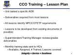 cco training lesson plan