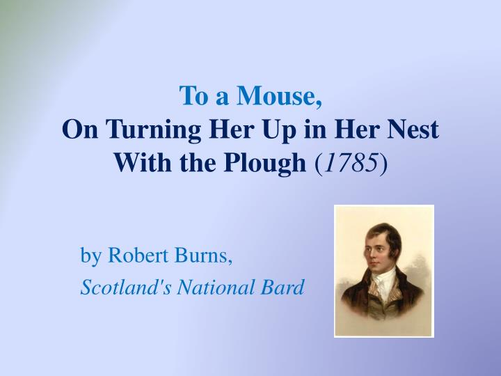 to a mouse on turning her up in her nest with the plough 1785 n.