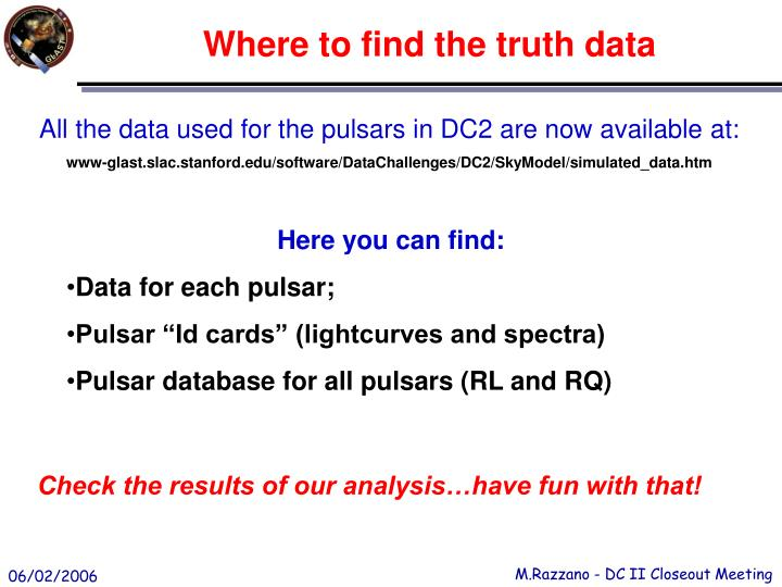Where to find the truth data