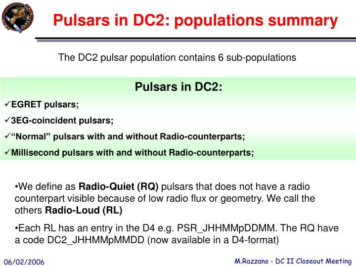 Pulsars in DC2: populations summary