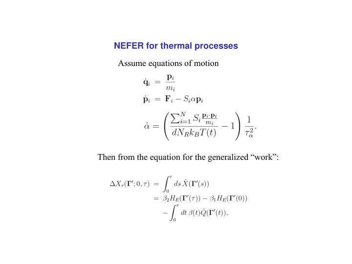 NEFER for thermal processes