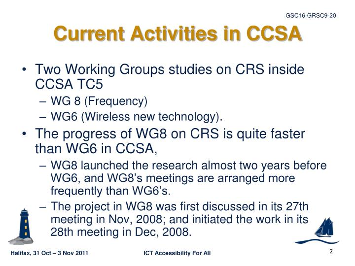 Current activities in ccsa
