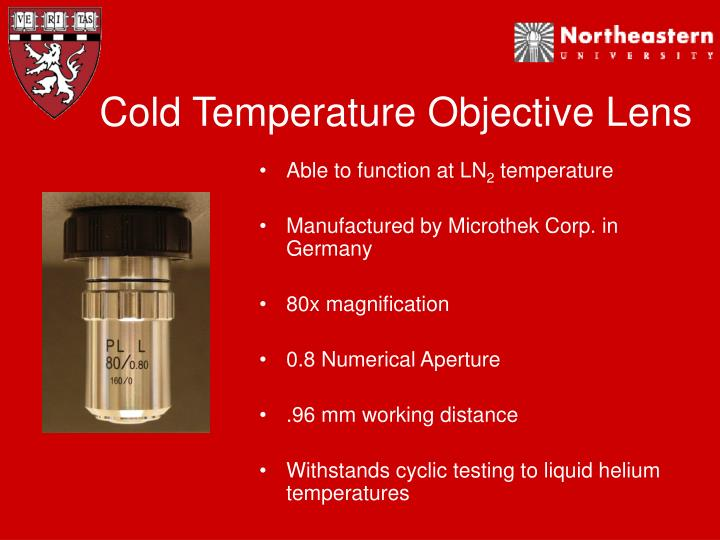 Cold Temperature Objective Lens