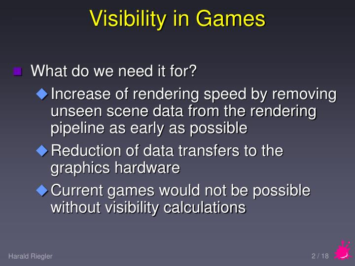 Visibility in games1