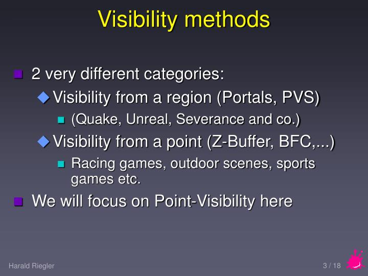 Visibility methods