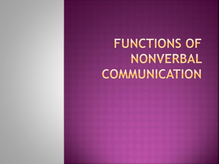 functions of nonverbal communication n.