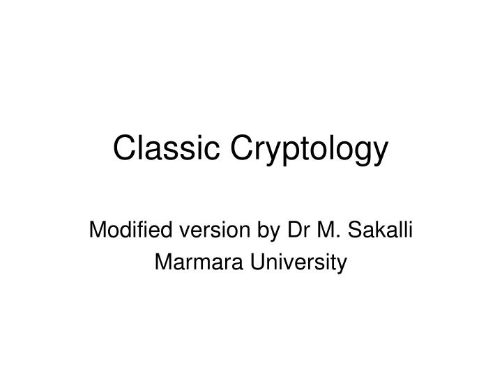 classic cryptology n.