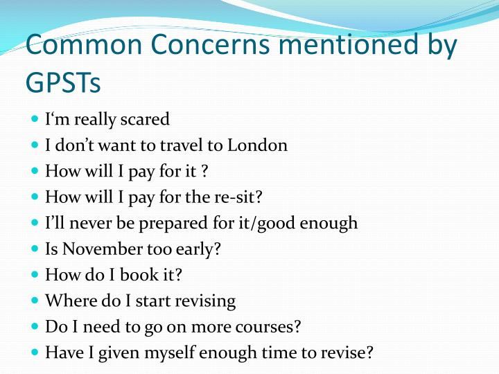 Common Concerns mentioned by GPSTs