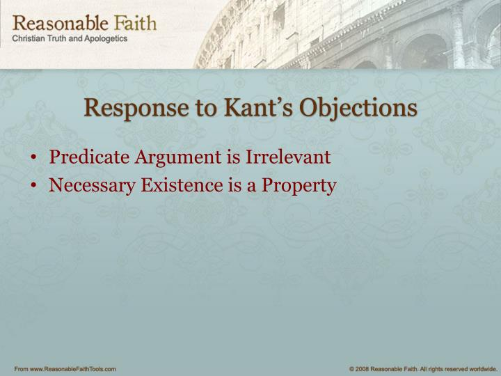 Response to Kant's Objections