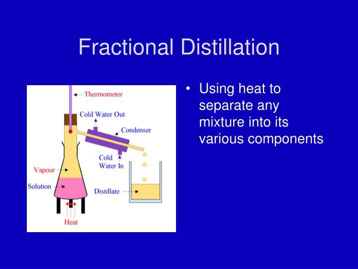 fractional distillation lab report Distillation 29 chem 355 jasperse distillation background distillation is a widely used technique for purifying liquidsthe basic distillation process involves heating a liquid such that liquid molecules vaporize.