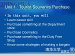 unit 1 tourist souvenirs purchase