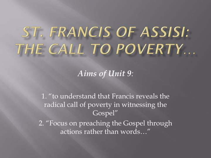 st francis of assisi the call to poverty n.