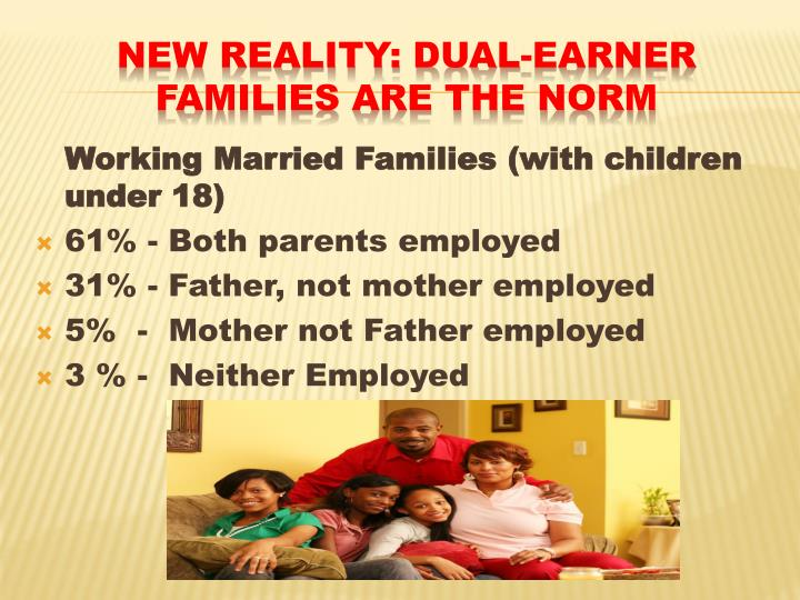 dual earner family essay Dual-earner families decline in fertility rates have encouraged the decline of the full-time mother couples combine paid work with family life and childcare.